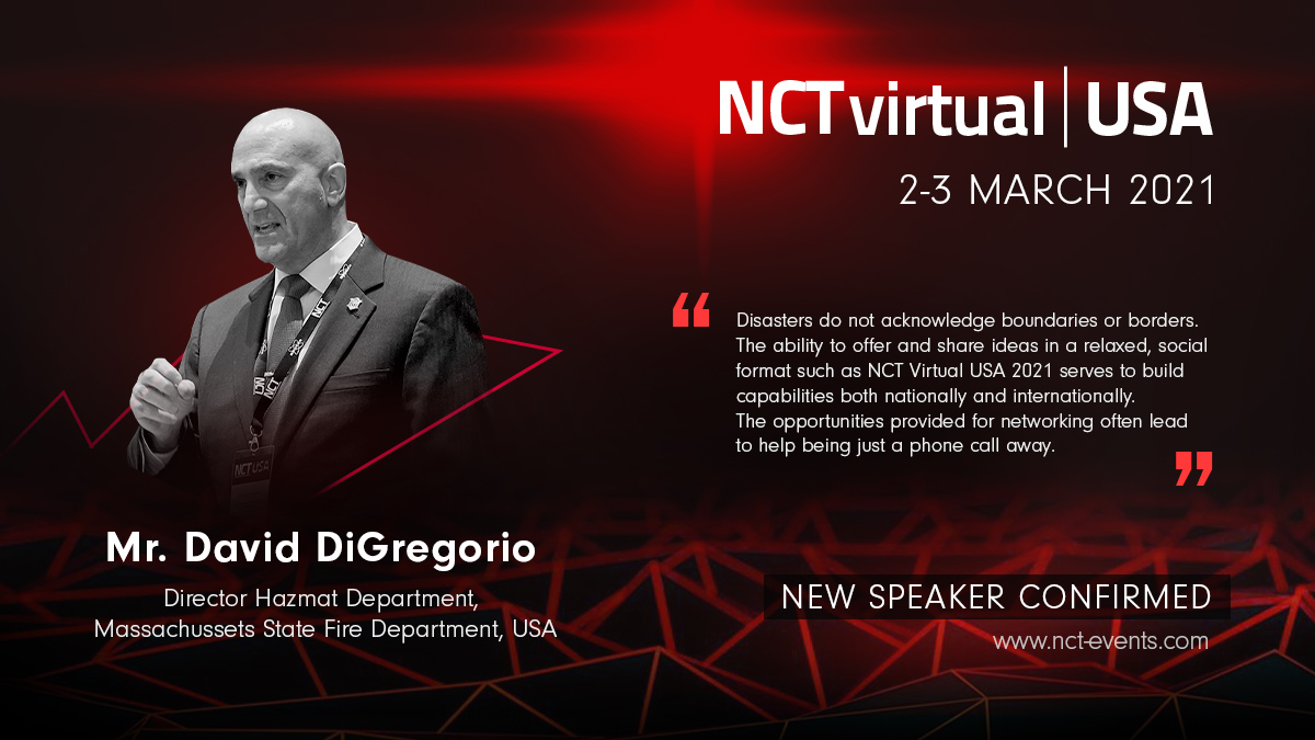 DFS HazMat Division Director David DiGregorio is presenting next month at the NCT (Non-Conventional Threats) Virtual USA 2021 Conference sponsored by the CBRNe Society. His expertise is valued inside Massachusetts and across the nation. https://t.co/38Nhk0Lxz3