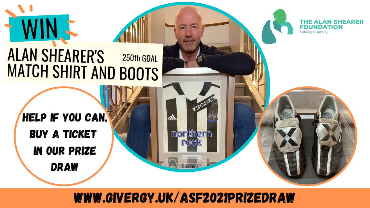 Calling all Shearer fans! Win Alan's match shirt & boots worn when he scored his 250th @premierleague goal; buying a ticket in our prize draw helps us raise much needed funds for the Alan Shearer Activity Centre. Click here to support us:
