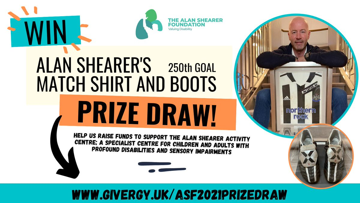 Support us if you can by buying a ticket in our prize draw. Alan personally donated his shirt & boots worn during his 250th @premierleague goal to help us raise funds for the Alan Shearer Activity Centre. Click link to be in with a chance to win!