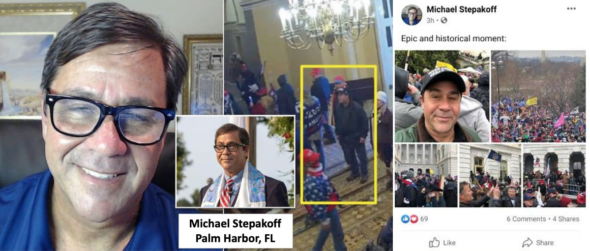"ARRESTED: Michael Stepakoff is an ex-lawyer and Messianic rabbi that leads Temple New Jerusalem in Palm Harbor, Florida. His lawyer said, ""He got caught up in the crowd. It's yet to be seen what if anything he did wrong."" News: FBI:"