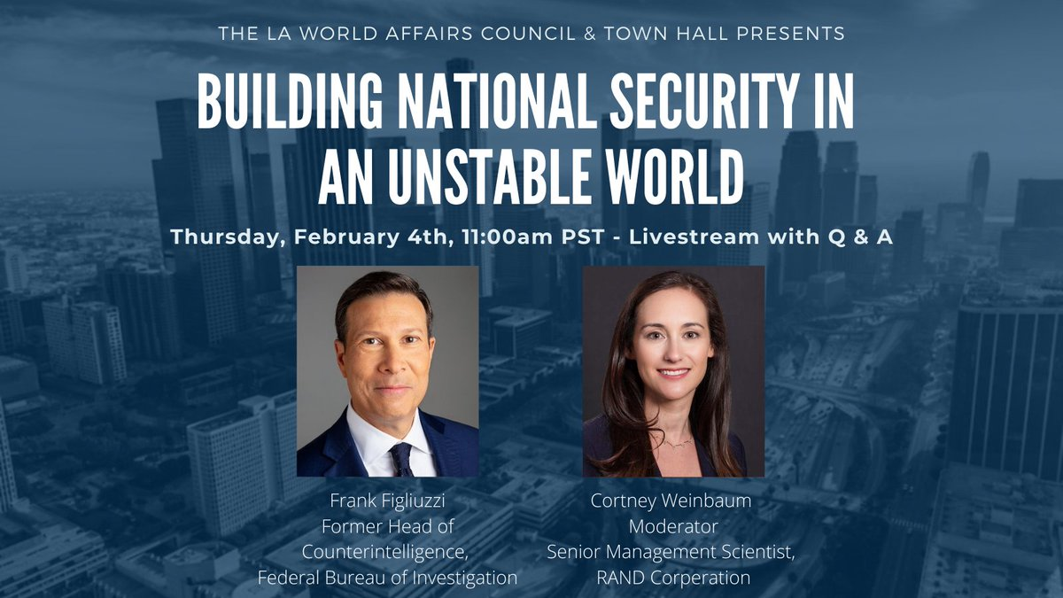 This week we hear from @FrankFigliuzzi1, retired FBI Assistant Director, on building national security in  an unstable world.   In conversation with @cortney_dc, you can join the live discussion on Thurs. 2/4 11am PST/2pm EST here: