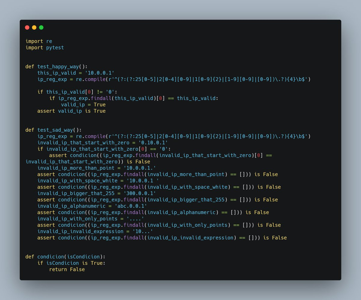 #Day68 #100DaysOfCode #Python #PythonCode #PyTest Hello guys, Today I studied about regex with that I implemented an IP validation, I created a test to do the validations for me.  OBS: Sorry, the previous post is the 67th.