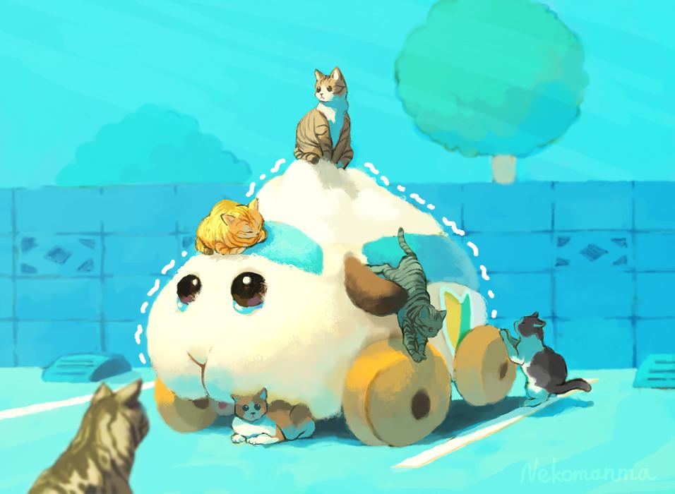 #モルカー #molcar #天竺鼠車車 猫が集まってきて 身動きが取れなくなったアビーちゃんのイラストを描きました!  (((´;ω;`))プルプル