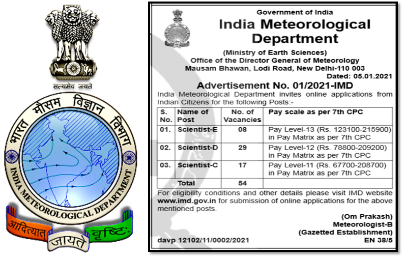 Scientist Positions on Direct Recruitment at IMD New Delhi, India on Direct Recruitment