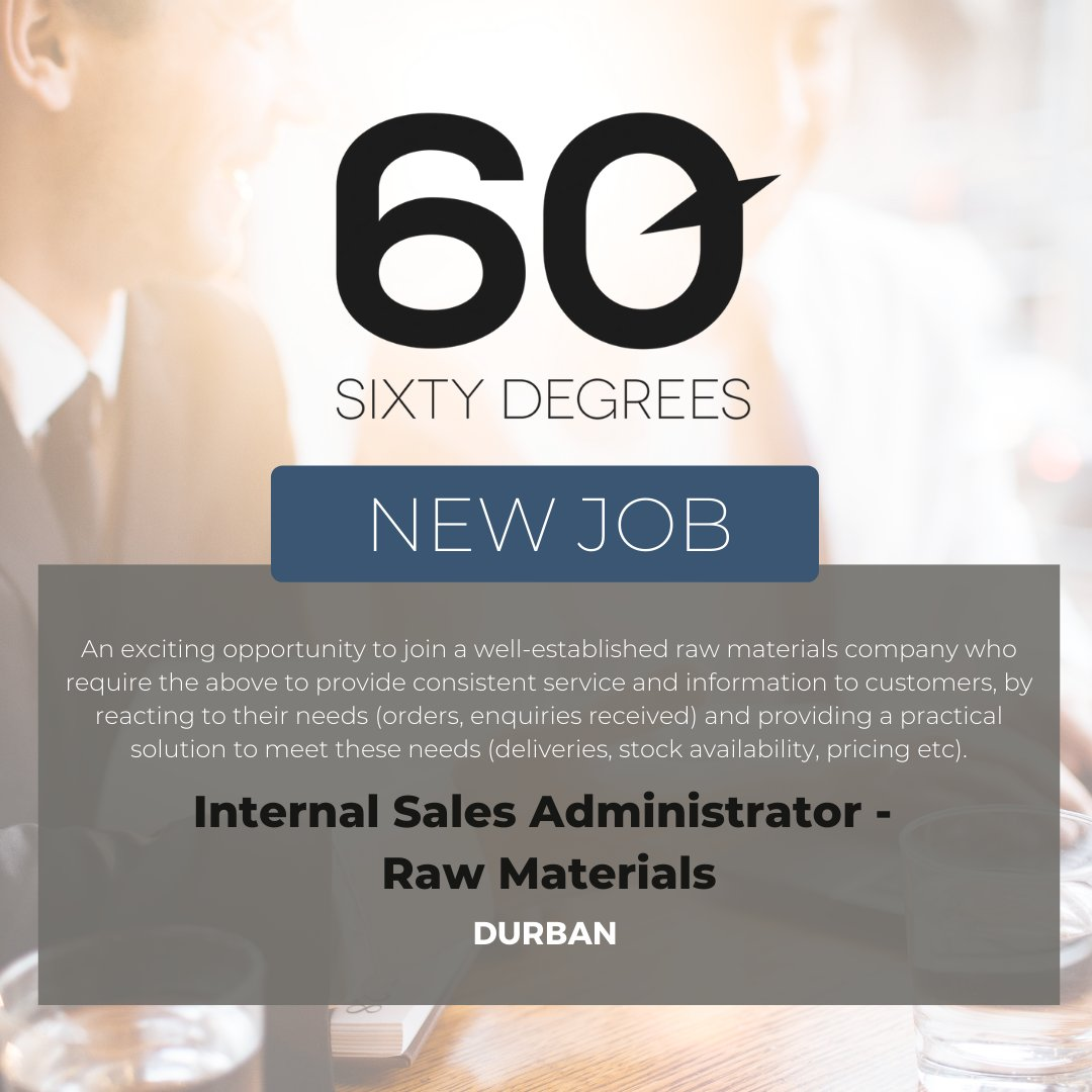 test Twitter Media - New #JobAlert - Internal Sales Administrator (Raw Materials) in Durban Metro  For more information & to apply, please click on the link below;  https://t.co/lMMeCEvc0g  #nowhiring #60degrees #sales #rawmaterials https://t.co/JwNsS4XEBG