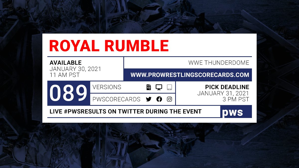 #PWS results for the WWE Royal Rumble  prediction scorecard will post to this thread at the conclusion of each match.  Use #PWSResults to join the conversation.  #WWE #RoyalRumble