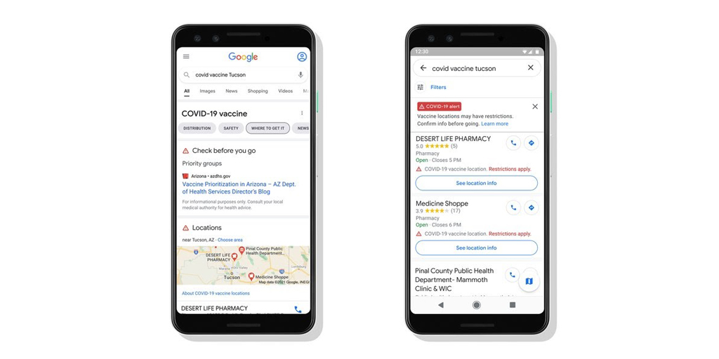 We're also making information about COVID-19 vaccination locations available in Search and @GoogleMaps, starting with Arizona, Louisiana, Mississippi & Texas, with more states & countries to come →