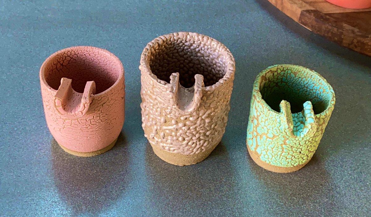 I made these glazes and these ashtrays and put the glazes on the ashtrays: