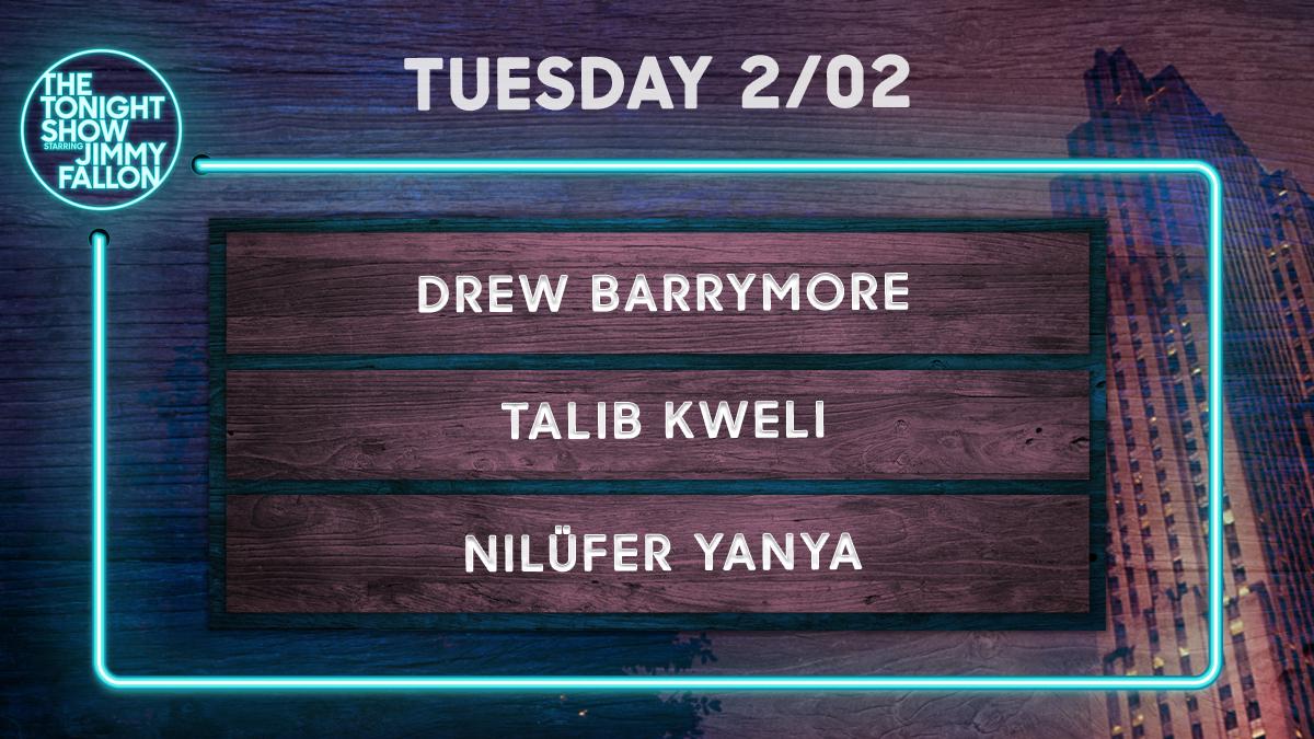 Tonight on a brand new #FallonTonight:  🎭 Talk + Mad Lib Theater w/ @DrewBarrymore 📚 Talib Kweli 🎵 @NiluferYanya