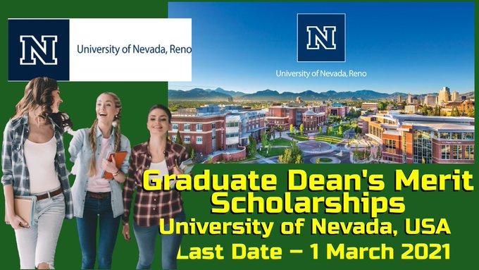 Graduate Dean's Merit Scholarships at University of Nevada, USA