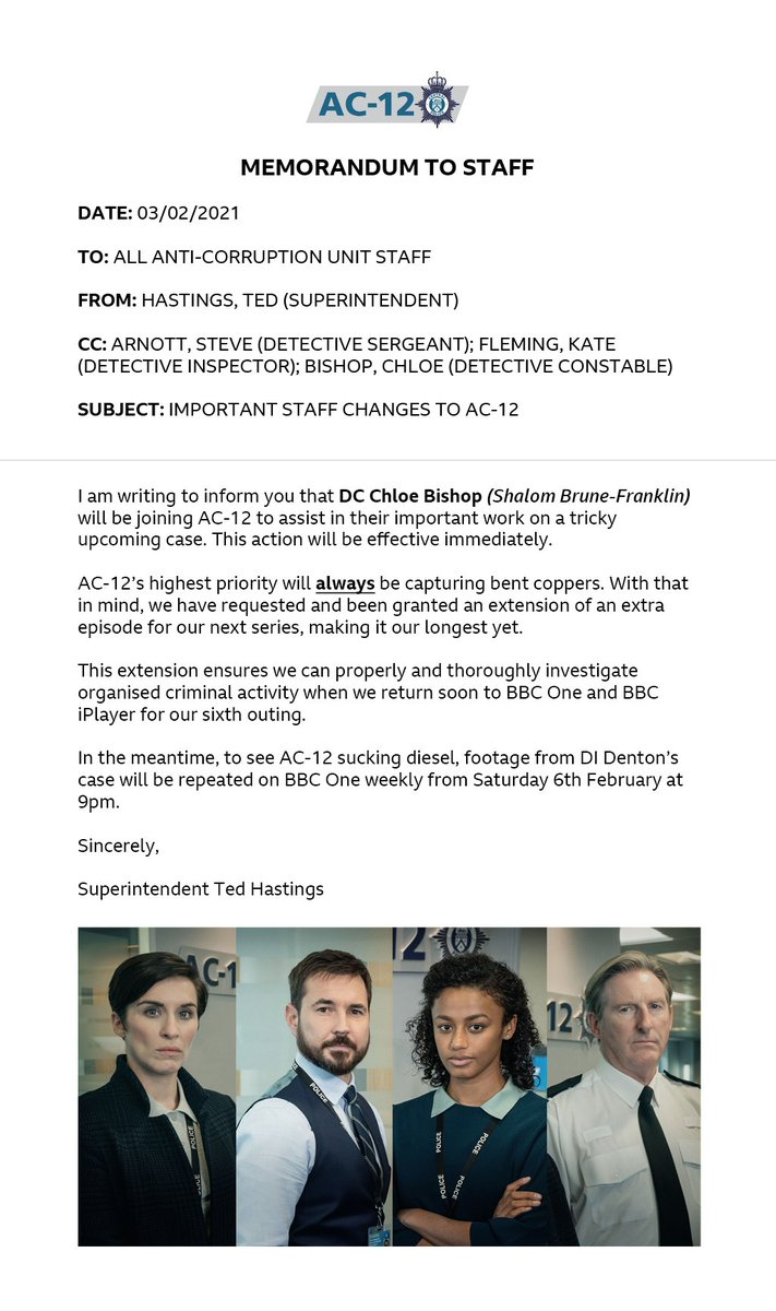 An Important Staff Memo from Superintendent Ted Hastings: bbc.in/2MNlNgr