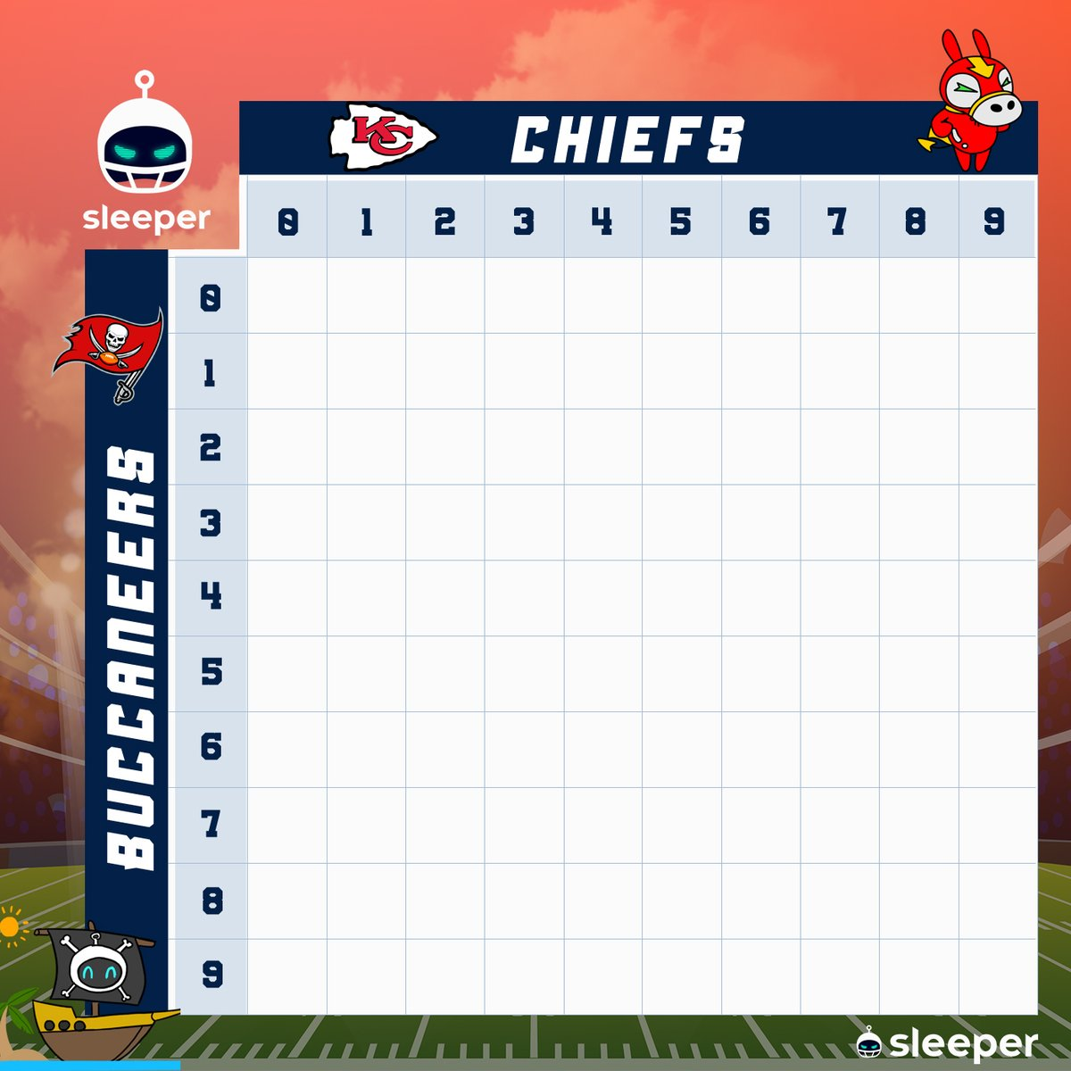 📢 Want in on Sleeper Squares for the #SuperBowl? 🏈   We're giving away Sleeper Tees and a Sleeper Hoodie, along with 2,500 cookies and some mascots! 🤯  Retweet with your Sleeper username for your chance! 🤞  #ChiefsKingdom #GoBucs