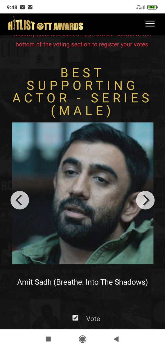 Voted for @TheAmitSadh ! ❤️ #KabirSawant #BestSupportingActor #BreatheIntoTheShadows.  To vote for him :   Let's make him win 👉👈