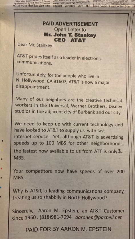 I mean how upset one must be, over slow home internet speeds, to pay for a personal quarter-page national ad in print @WSJ