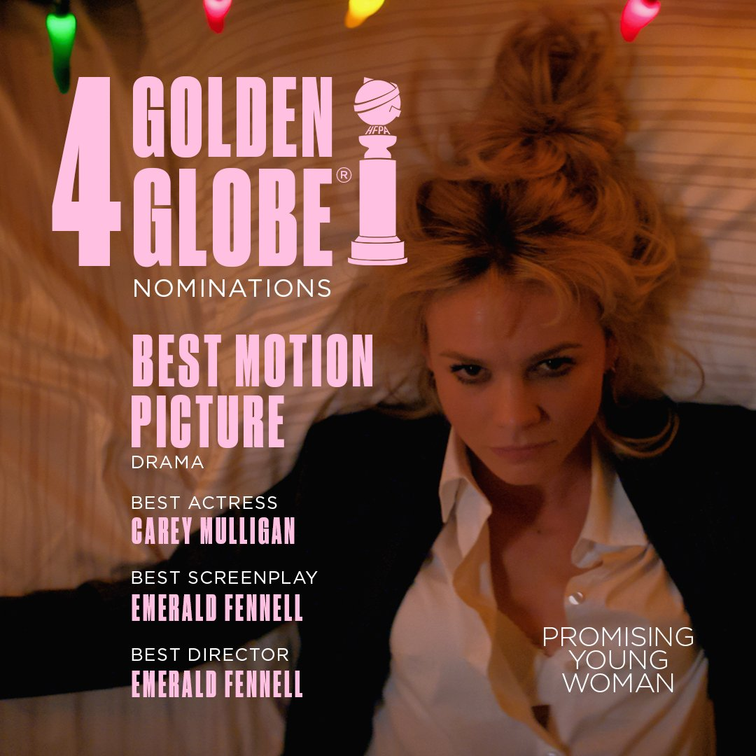 Congratulations @emeraldfennell, Carey Mulligan, and the fab, fab cast and crew of @PromisingFilm on today's @goldenglobes nominations! What a triumph! Was an honor to be a part of this with y'all!  #PromisingYoungWoman @FocusFeatures