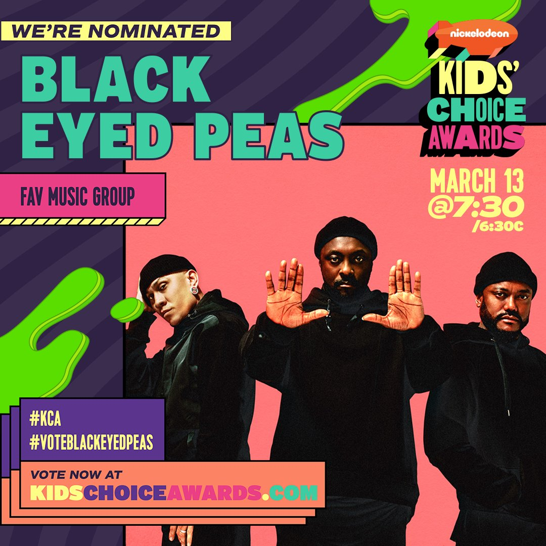 Wow!! 😱 We've been nominated for Favorite Music Group at this year's @Nickelodeon Kids' Choice Awards!! ⚡   You can vote for us using the hashtags in the image or at ! #KCA #VoteBlackEyedPeas