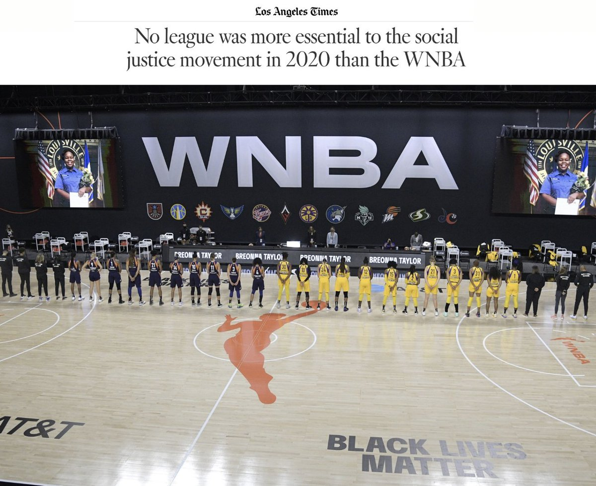 """No league was more essential to the social justice movement in 2020 than the WNBA."" Read it again. Thank you to the women and girls in sport who continue to demand more, and do more, for Black lives and Black culture."