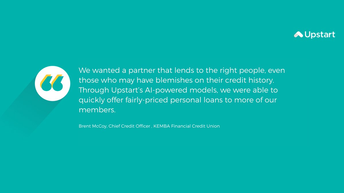 test Twitter Media - Through @Upstart's AI-powered models, @KEMBAfinancial was able to quickly offer fairly-priced #personalloans to more of their members. #ailending #fintech #artificialintelligence https://t.co/HlpO4jGNzA