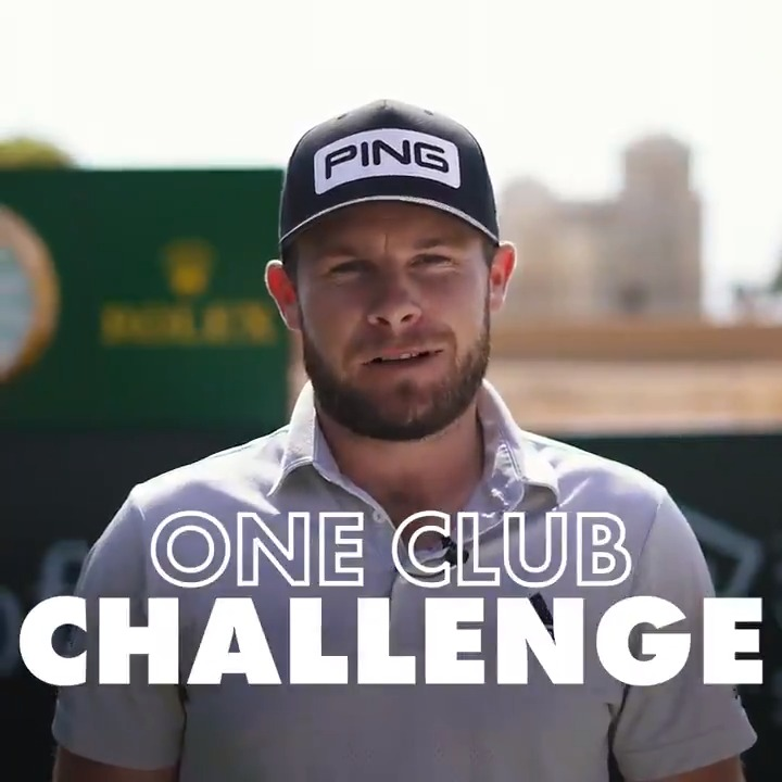 """I just hope it's not a wedge!"" 🙃  @TyrrellHatton takes on the 𝗼𝗻𝗲 club challenge.  #SaudiIntlGolf"