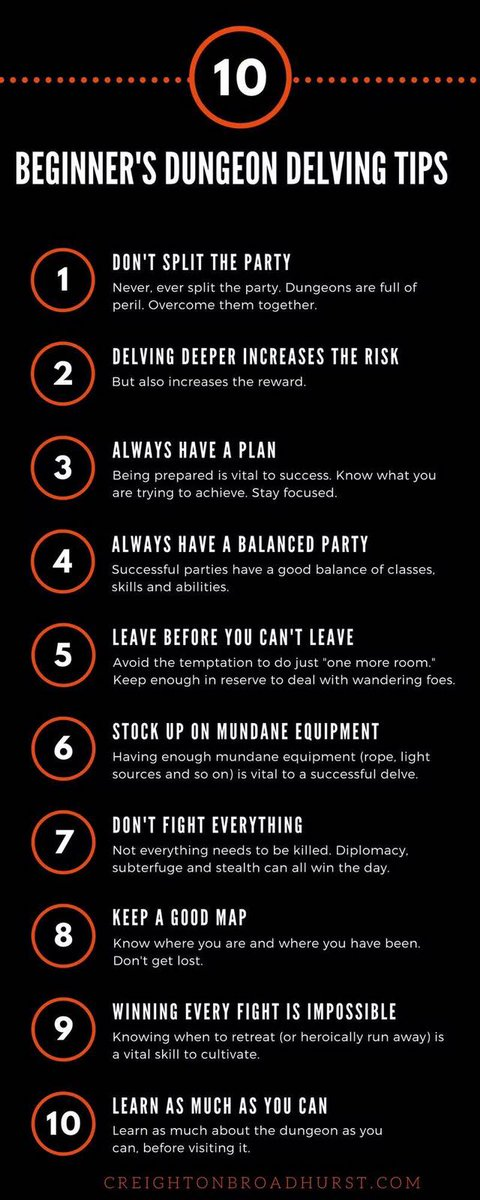 I think these tips can apply to everyday life as well ;) #dungeonsanddragons #lifeadvice