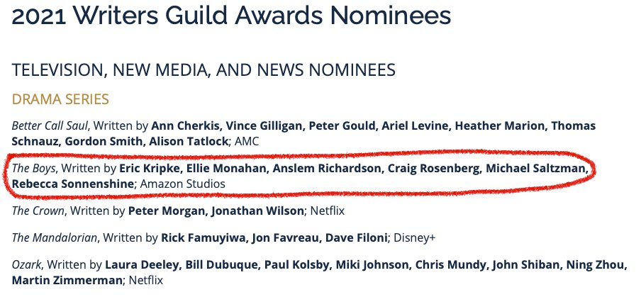 INT. OFFICE - DAY  ERIC: Writers getting the respect they deserve!  ERIC'S BRAIN: You deserve no respect.  Thanks @WGAWest & my BRILLIANT team. I know how dissatisfied writers are, so its an honor you picked us!  #WGAawards #TheBoys #TheBoysTV @TheBoysTV @PrimeVideo #SPNFamily