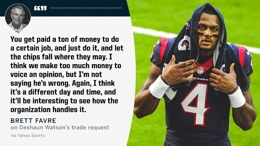Replying to @espn: Brett Favre shared his thoughts on Deshaun Watson's trade request from the Texans.