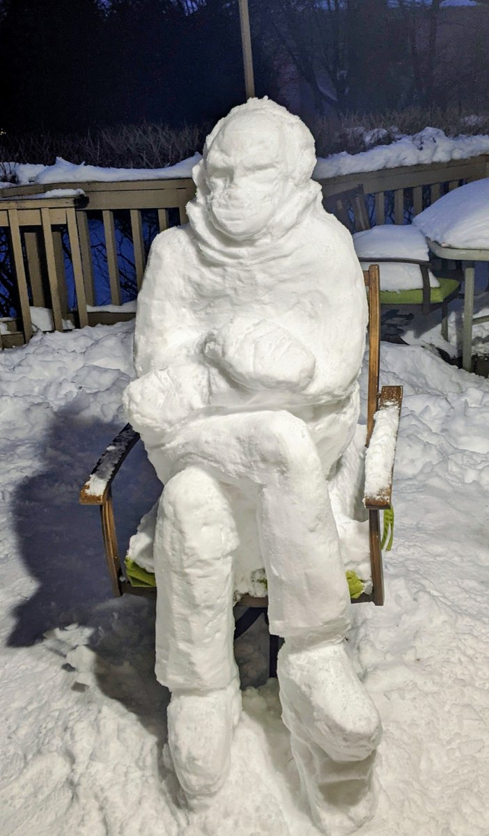 Replying to @DavidTheNonBot: SNOW BERNIE ON OUR DECK My wife made this today.
