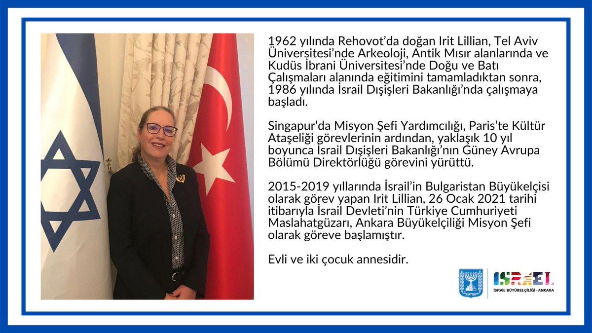 İsrail Devleti'nin Türkiye Cumhuriyeti Maslahatgüzarı olarak atanan Büyükelçiliğimizin yeni misyon şefi Ekselansları Irit Lillian'a hoşgeldiniz diyoruz. @iritlillian