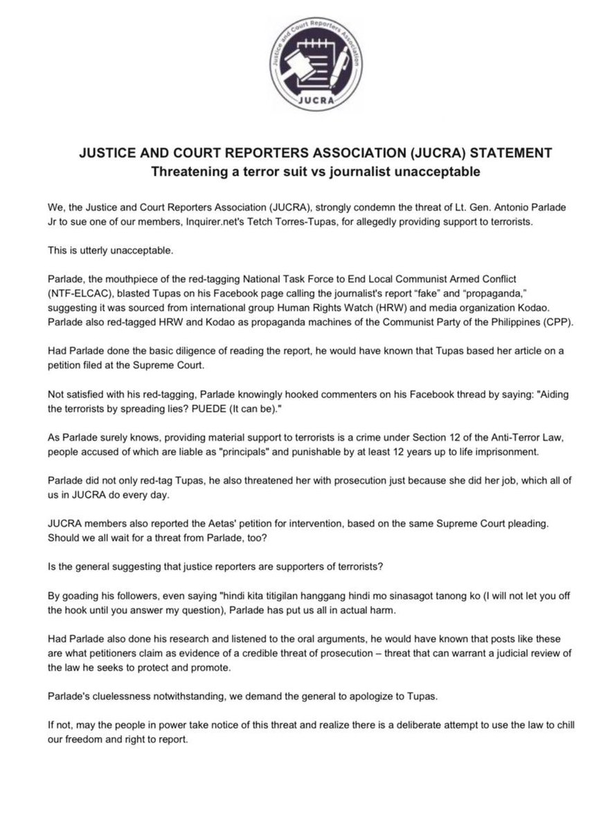 Statement of the Justice and Court Reporters Association (JUCRA) on media red-tagging. @inquirerdotnet