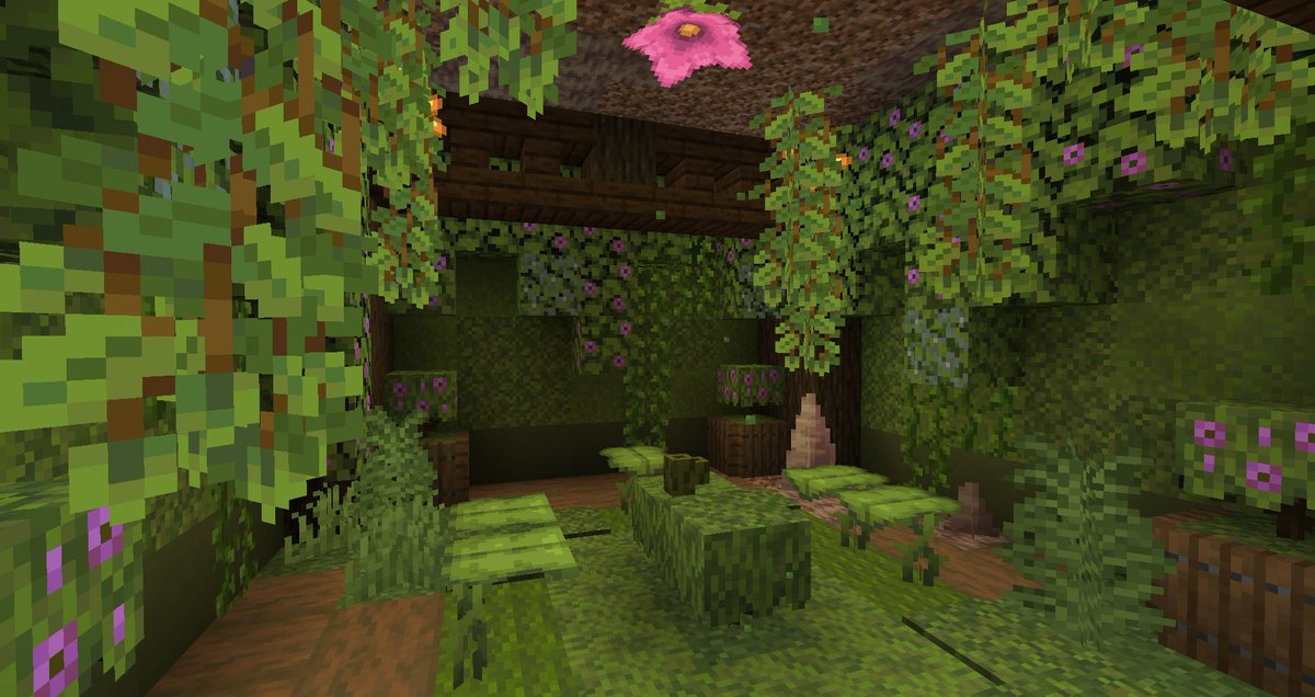 PearlescentMoon - I'm a big fan of foliage... The new Minecraft snapshot is absolutely wonderful. 🥰 The dripleaf works as a cute chair, the azalea bush works as carpet, and the moss block was a nice texture alongside green concrete powder... 😯  Can't wait to build properly with it in future!