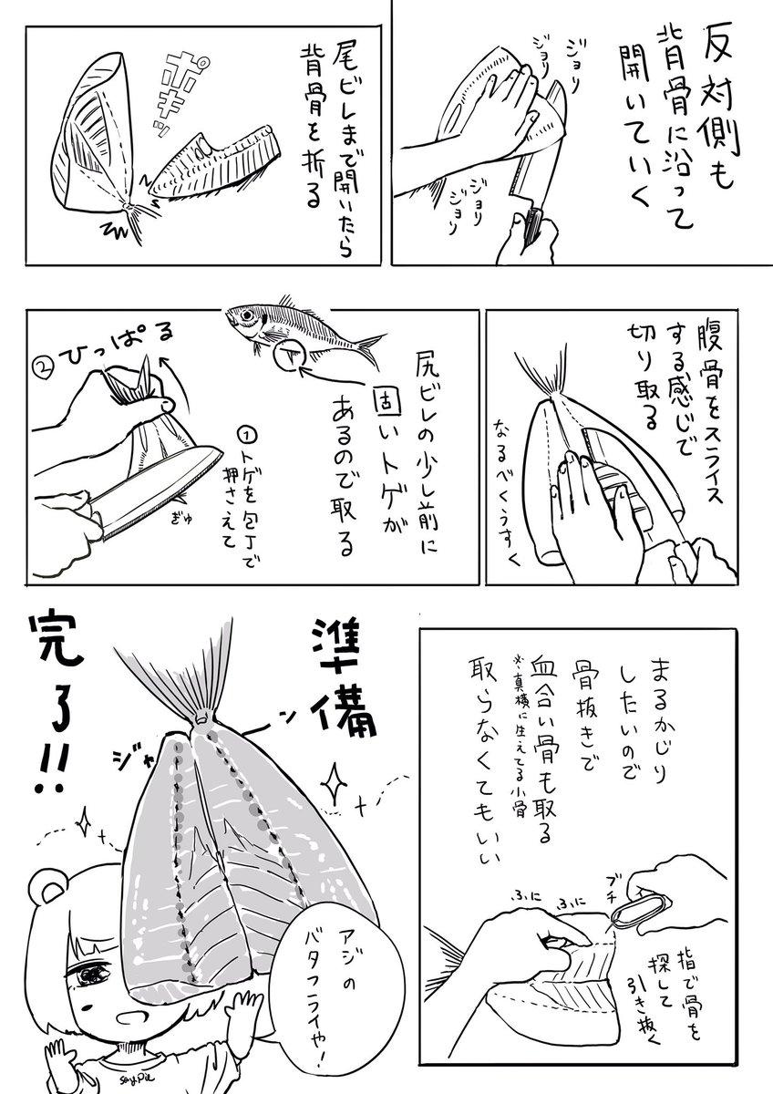 初めてアジフライ作った話 2/2