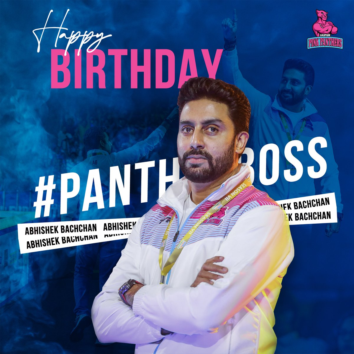 Wishing a very happy birthday to our biggest supporter and the strongest pillar! Your ingenuity strikes a chord within all of us #Panthers! May you get inspired and keep inspiring others on your birthday @juniorbachchan 🎂🥳🙏🏻  #HappyBirthday #PantherBoss #JaipurPinkPanthers