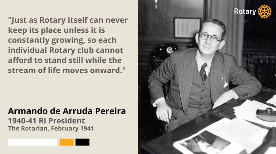 Mr. Pereira, sitting at his desk in 1941 w a sage quote about