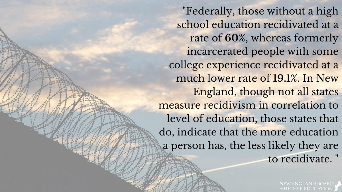 To find out more about higher education programs for incarcerated people, read our newest brief: https://t.co/wVZTlq3aAt  #equity #access #prisons #justice #prisoneducation #highered #newengland
