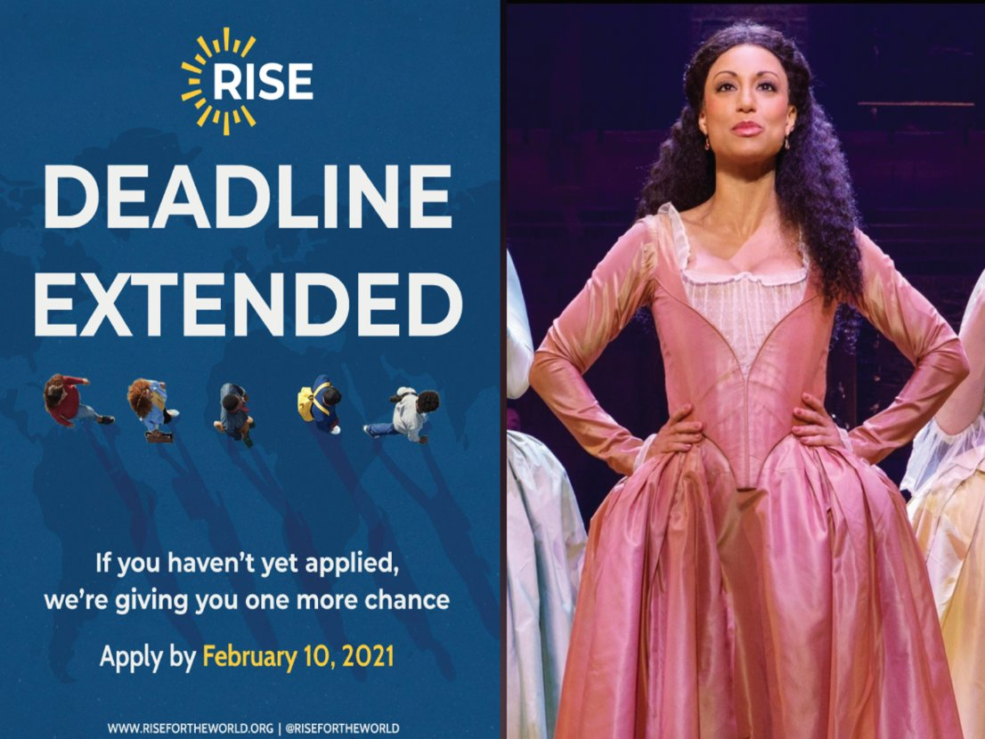 Rise Up! Join us for a virtual Q&A with @risefortheworld and @SabrinaSloan of @HamiltonMusical on February 8 at 7 PM ET. Learn more about the Rise Global Scholarship program and get tips for being a rising leader in your community!   RSVP:  #sschat