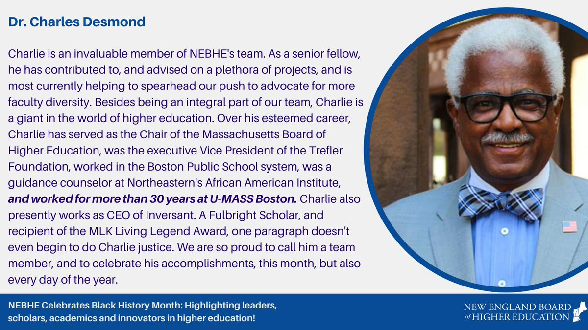 Proud and honored to have been able to collaborate with Charlie throughout my time at NEBHE.   #BlackHistoryMonth #BlackHistoryMonth2021 #highered #newengland @UMassBoston @InversantTweets