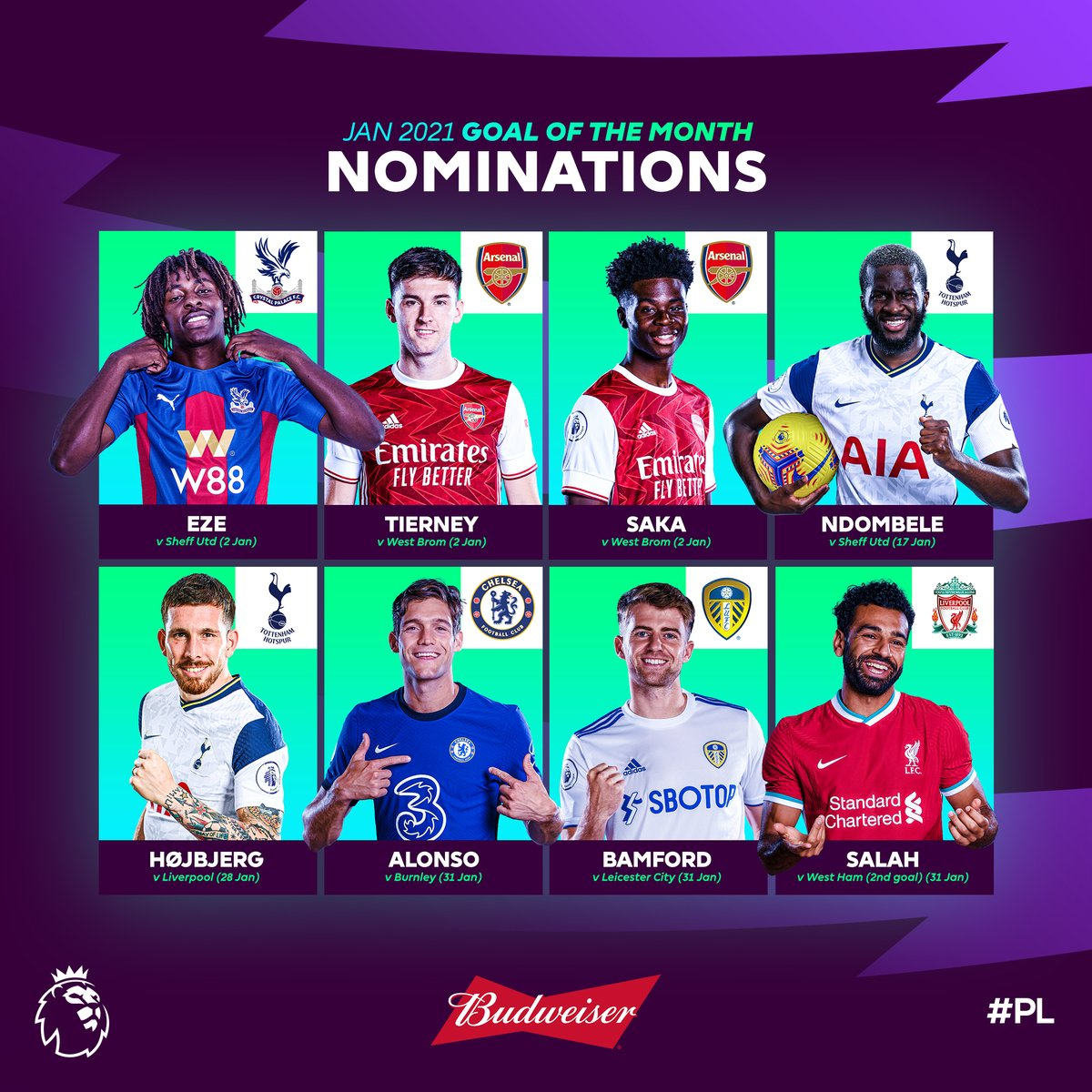 🏃‍♂️ 💫 🚀 💥 🔥 🎯 ⚡️ 😲  Which 𝙤𝙪𝙩𝙧𝙖𝙜𝙚𝙤𝙪𝙨 strike should win January's @budfootball Goal of the Month?  Vote now ➡️   #PLAwards