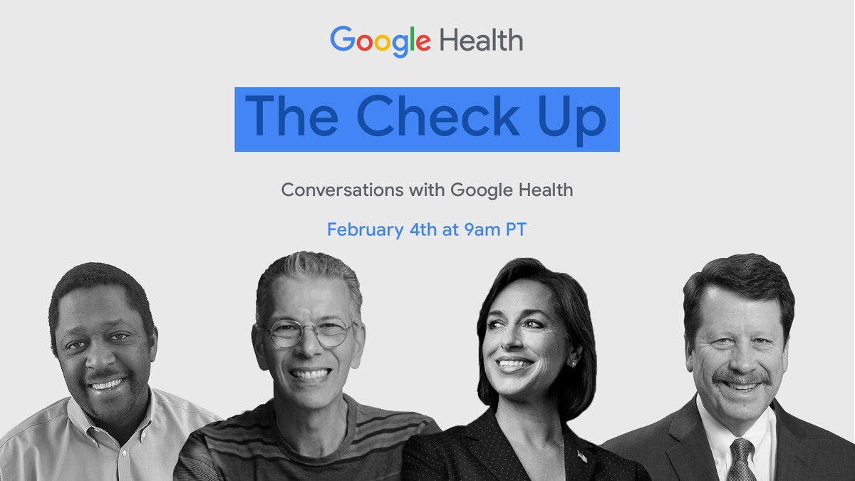Tune into #TheCheckup today at 9am PT for the latest news from @GoogleHealth about how we're working to tackle some of healthcare's biggest challenges →