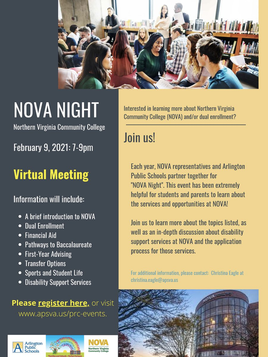 NOVA Night's coming! Join us to learn about Northern Virginia Community College opportunities-Feb 9!  <a target='_blank' href='https://t.co/Dr2Q2RZSDO'>https://t.co/Dr2Q2RZSDO</a>  <a target='_blank' href='http://twitter.com/WakeCounselors'>@WakeCounselors</a> <a target='_blank' href='http://twitter.com/ACHSmavericks'>@ACHSmavericks</a>  <a target='_blank' href='http://twitter.com/yhscounseling'>@yhscounseling</a> <a target='_blank' href='http://twitter.com/AccCounseling'>@AccCounseling</a> <a target='_blank' href='http://twitter.com/HBWProgram'>@HBWProgram</a> <a target='_blank' href='http://twitter.com/LangstonHS_APS'>@LangstonHS_APS</a> <a target='_blank' href='http://twitter.com/APSNOVAPartners'>@APSNOVAPartners</a> <a target='_blank' href='http://twitter.com/WLHSCounseling'>@WLHSCounseling</a> <a target='_blank' href='http://twitter.com/APSVirginia'>@APSVirginia</a> <a target='_blank' href='http://twitter.com/ArlingtonSEPTA'>@ArlingtonSEPTA</a> <a target='_blank' href='https://t.co/8vhYnwbqoN'>https://t.co/8vhYnwbqoN</a>