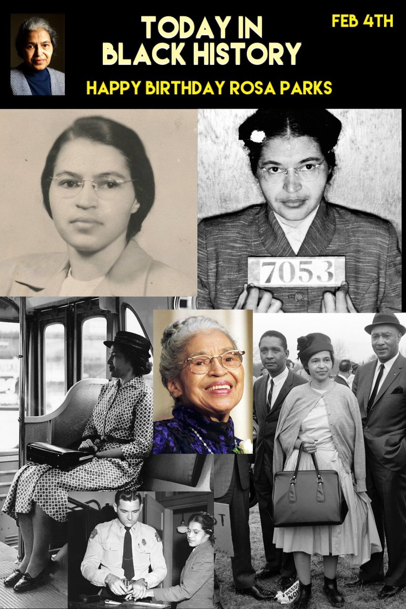 Today in #BLACKHISTORY it is Rosa Park's Birthday! #rosaparks #TodayInBlackHistory #CivilDisobedience #americantreasure #activist #humanitarian #Boycott #happybirthday #thankyou