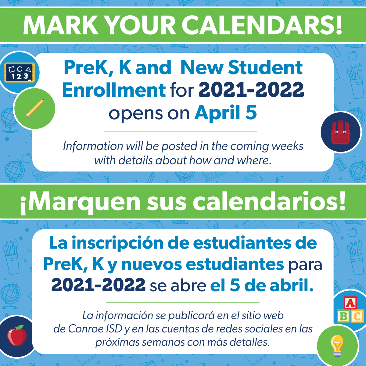 Conroe Isd Calendar 2022.Conroe Isd On Twitter Mark Your Calendars Prek K New Student Enrollment For 2021 2022 Opens On April 5 Information Will Be Posted On The Conroe Isd Website And Social Media Accounts