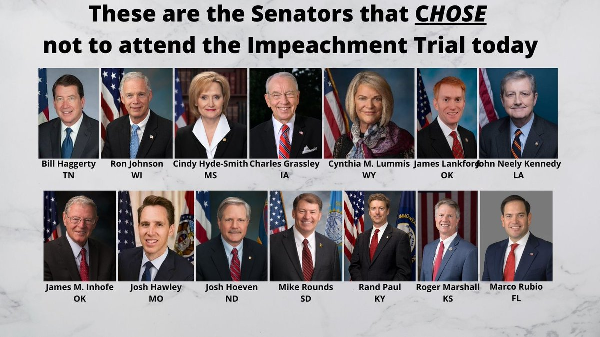 These Senators CHOSE not to attend today's part of the trial for #Impeachment. In my opinion, they broke their oath as a juror by doing so and should not be allowed to vote on it. #ImpeachmentTrial2 #Impeachmenttrial #retweet
