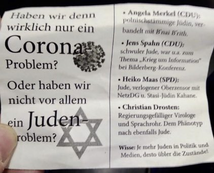 """Antisemitic flyers were found on a tram in Cologne, Germany, blaming Jews for the ongoing pandemic. The flyer reads: """"Do we really have a Corona problem? Or do we have a Jewish problem?"""" with a Star of David in the background. When will we finally have a vaccine for Jew hatred?"""