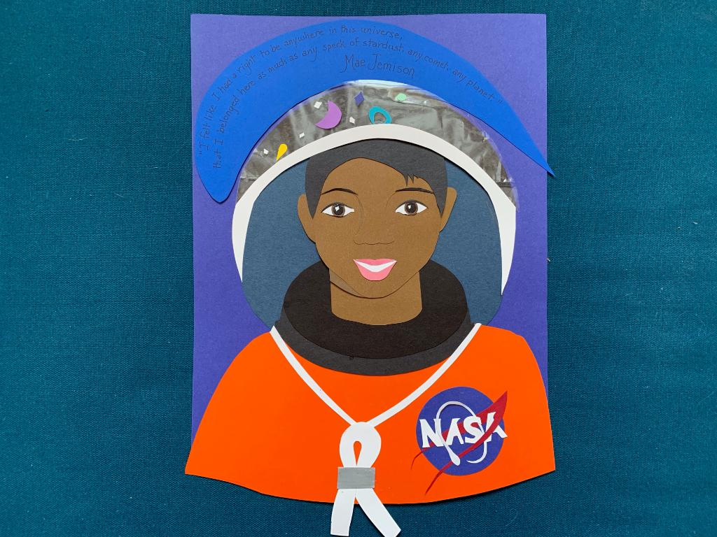 """""""I felt like I had a right to be anywhere in this universe, that I belonged here as much as any speck of stardust, any comet, any planet.""""  Dr. Mae Jemison became the 1st woman of color in space in 1992 & she continues to inspire today. #BlackHistoryMonth  Art by Maggie, Grade 9"""