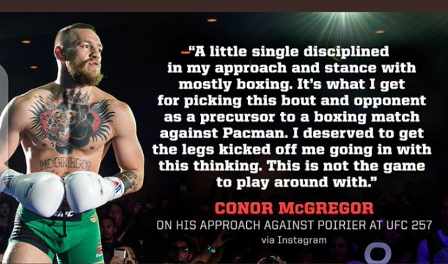 McGregor admit he focus too much on boxing training ahead of Manny Pacquaio's Bout, as the major reason he find it difficult to kick his leg off him against Dustin Poirier at UFC 257.  #fightinggist #conor #ConorMcGregor #McGregor  #dustinpoirier #mcgregorvspoirier2