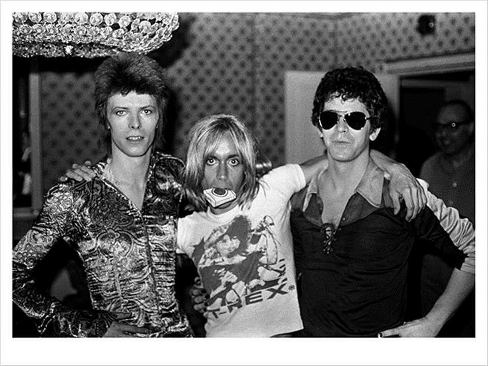 """Back in those days, life was a continued photo session, hanging out. It was a different time. No internet. No cell phones. We were all young and out of our fucking minds."""" @DavidBowieReal @IggyPop and @LouReed - London, 1972"""