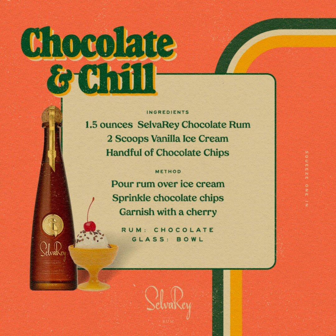 Enhance the romance. Watch how to make the Chocolate & Chill at . #SelvaReyRum #TropicalLuxury #ChocolateRum #ValentinesDay
