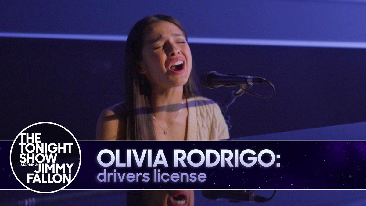 "🎶💳 #FallonTonight Tunes 💳🎶  @Olivia_Rodrigo shares a heart-wrenching performance of her smash hit ""drivers license""   WATCH ▶️"