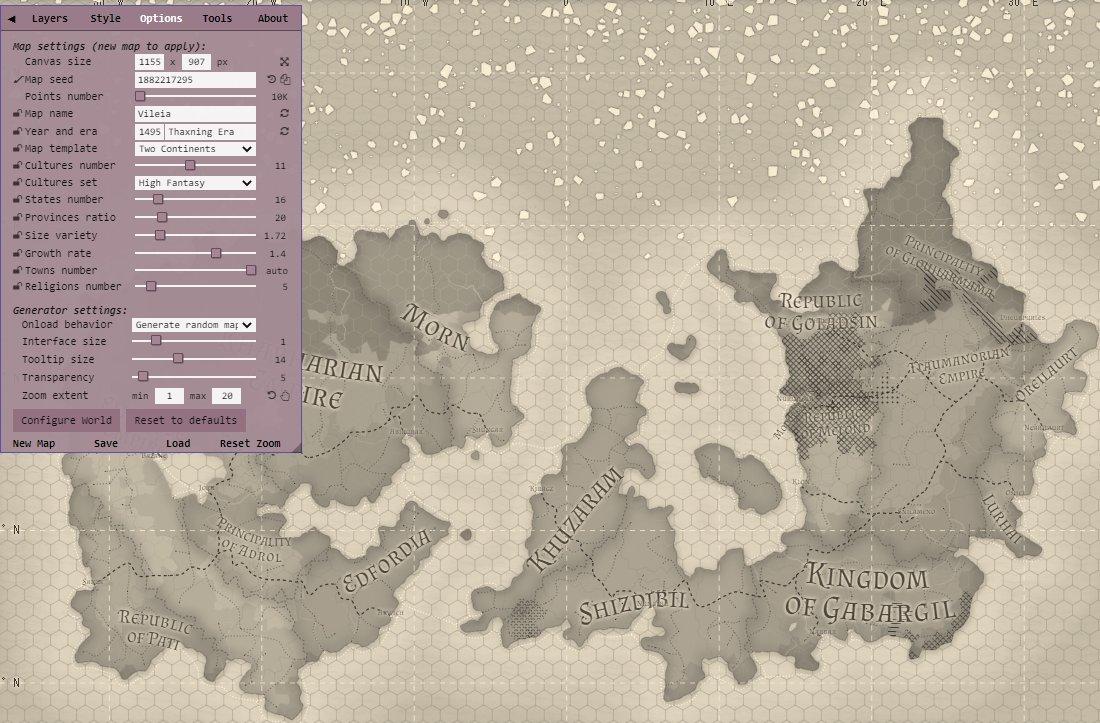 ファンタジーマップジェネレーターもあった。世界地図が自動生成できて拡大できる。街には人口も生成されてて、さきほどのシティージェネレーターと連動して市街図も作れる。さらには街の紋章まで自動生成。