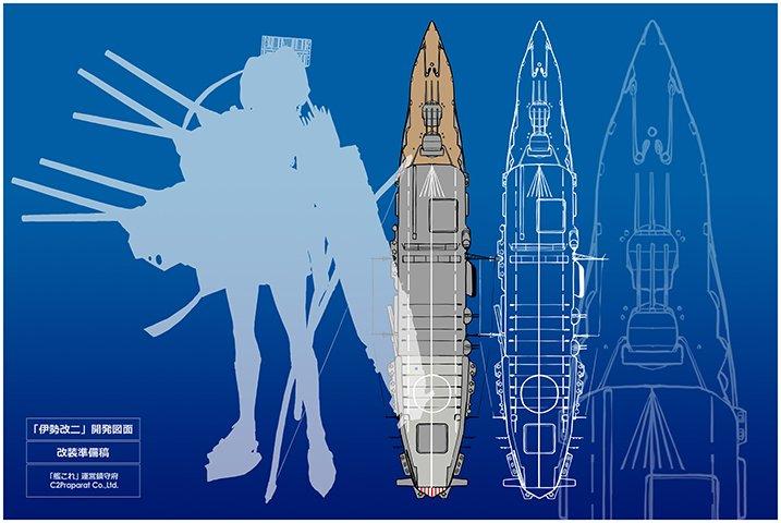 まあその妄想艦も理詰めでキッチリ考えたのなら納得はするけどさ、伊勢改二のとき偉そうに開発図面()まで引いて考えた言うてたけど、大淀の空母案想像図とかフライングデッキクルーザー(航空巡洋艦)のやつパク...リスペクトしましたよね?